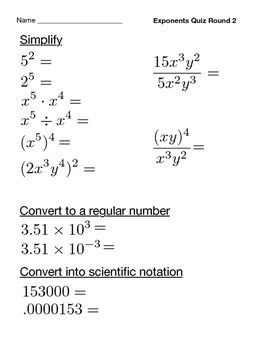 Exponents Quiz (3 Rounds)