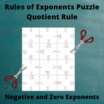Exponents Puzzle : Quotient Rule with negative and zero exponents