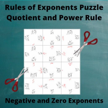 Exponents Puzzle : Quotient and Power Rules with negative and zero exponents