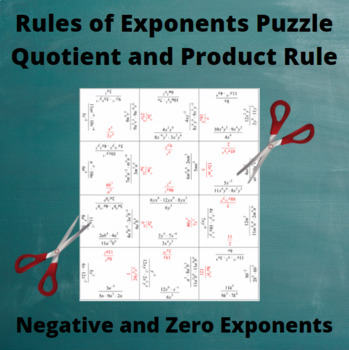 Exponents Puzzle : Quotient and Product Rules with negative and zero exponents