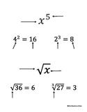 Exponents & Radicals - Cut & Paste Activity