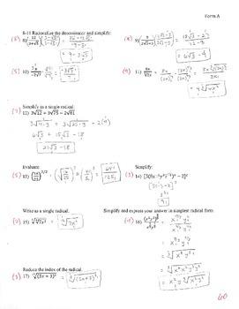 Exponents/Radicals Test