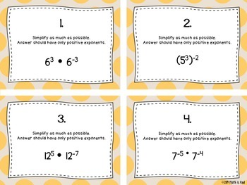Exponents Raised to Negative Powers Task Cards CCSS 8.EE.1