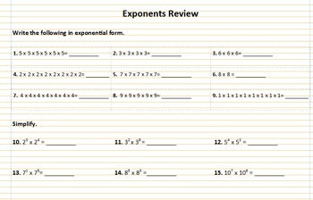 Exponents Review