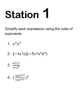 Exponents Review/Stations/Group work