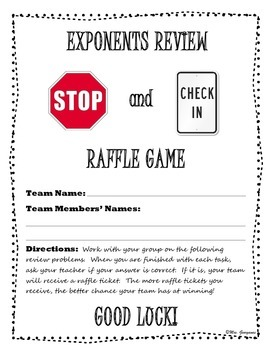 Exponents Review {Stop and Check In Raffle}