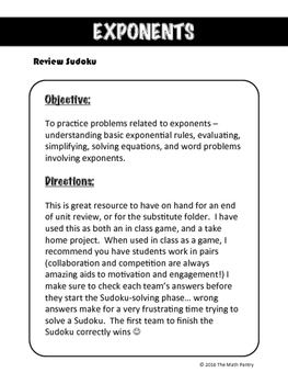 Exponents - Review Sudoku