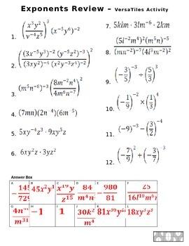 Exponents Review - VersaTiles
