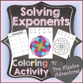 Exponents Coloring Activities {Solving Exponents} {Activity} {Worksheet}