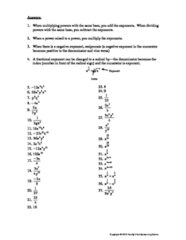 Exponents Review Worsheet