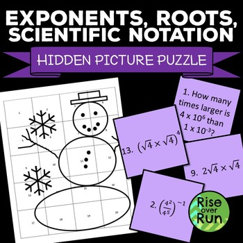 Exponents, Roots, Scientific Notation Hidden Picture Puzzle Winter Snowman