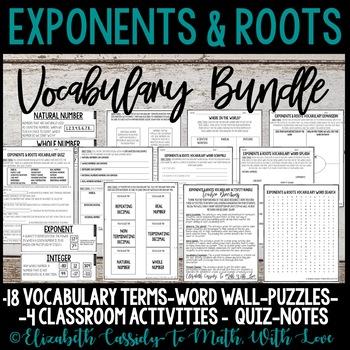 Exponents & Roots Vocabulary- Vocabulary Activity Bundle