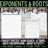 Math Vocabulary Word Search - Exponents & Roots Unit