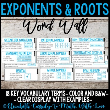 Exponents & Roots Vocabulary Word Wall