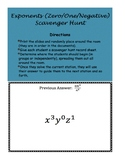 Exponents Scavenger Hunt (Zero, One, and Negatives)