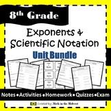 Exponents & Scientific Notation Bundle - 8.EE.1, 8.EE.3, 8.EE.4 {EDITABLE}