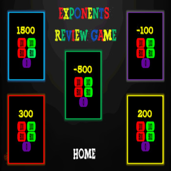 Exponents & Scientific Notation PowerPoint Review Game