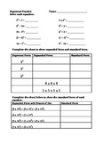 Exponents Square Numbers Expanded Form Beginner