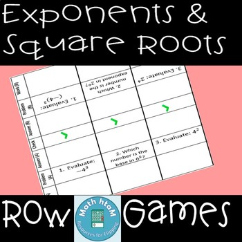 Exponents & Square Roots Row Games