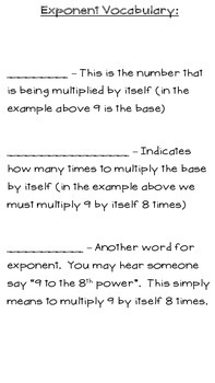 Exponents Student Notes and Overview