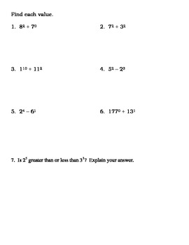 Exponents Table Worksheet