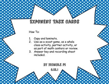 Exponents Task Cards- 6.EE.1