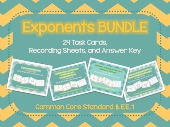 Exponents Task Cards BUNDLE CCSS8.EE.1