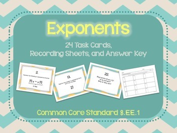 Exponents Task Cards CCSS 8.EE.1