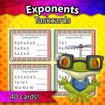 6.EE.1 - Exponents Taskcards