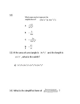 Exponents Test  15 problems