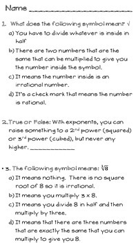 Exponents Test - Includes laws of exponents