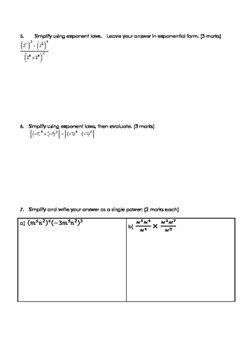 Math 9: Exponents Test - includes FULL SOLUTIONS