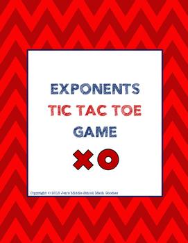 Exponents Tic Tac Toe Activity