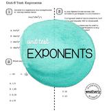 EXPONENTS Unit Test CC Algebra 1