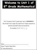 Exponents Unit- Student Packet with Answer Key