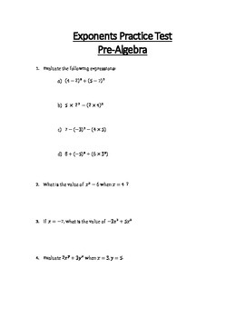 Exponents Unit Test