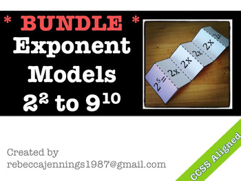 Exponents: Visual Models BUNDLE Bases of 2 to 9