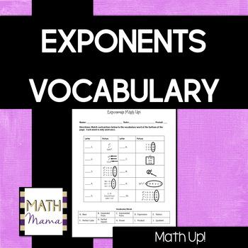 "Exponents Vocabulary - ""Math Up"" Activity!"
