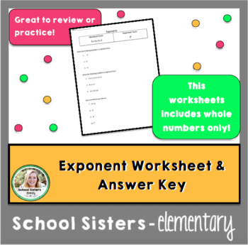 Exponents - Whole Number Worksheet