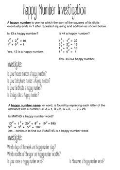 """Exponents Worksheet - """"Happy Number Challenge"""""""