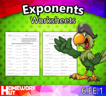 6.EE.1 - Exponents Worksheets