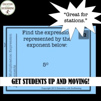 Exponent write equivalent multiplication expressions task card activity