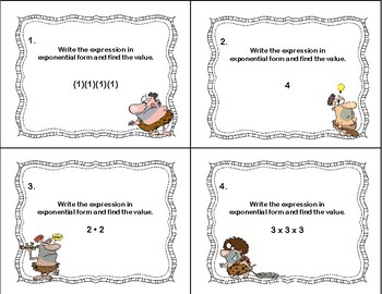 Exponents--Writing the Expression and Finding the Value-Grades 6-7-Caveman Theme