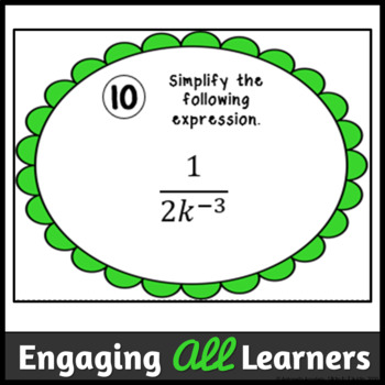 Exponents - Zero and Negative Task Cards