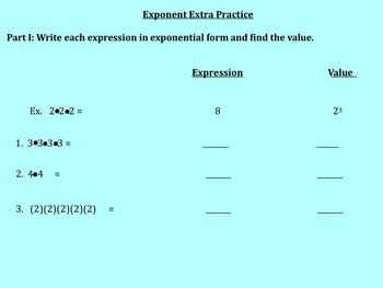 Exponents and Exponential Format Notes and Assignments on Smartboard