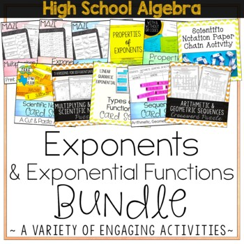 Exponents and Exponential Functions Bundle - High School Algebra