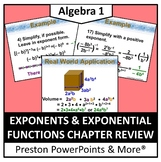 Exponents and Exponential Functions Review in a PowerPoint Presentation