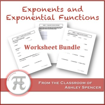 Exponents and Exponential Functions Worksheet Bundle