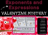 Exponents and Expressions Valentine's Day Mystery Math Activity