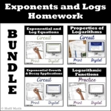 Exponents and Logarithms Homework BUNDLE